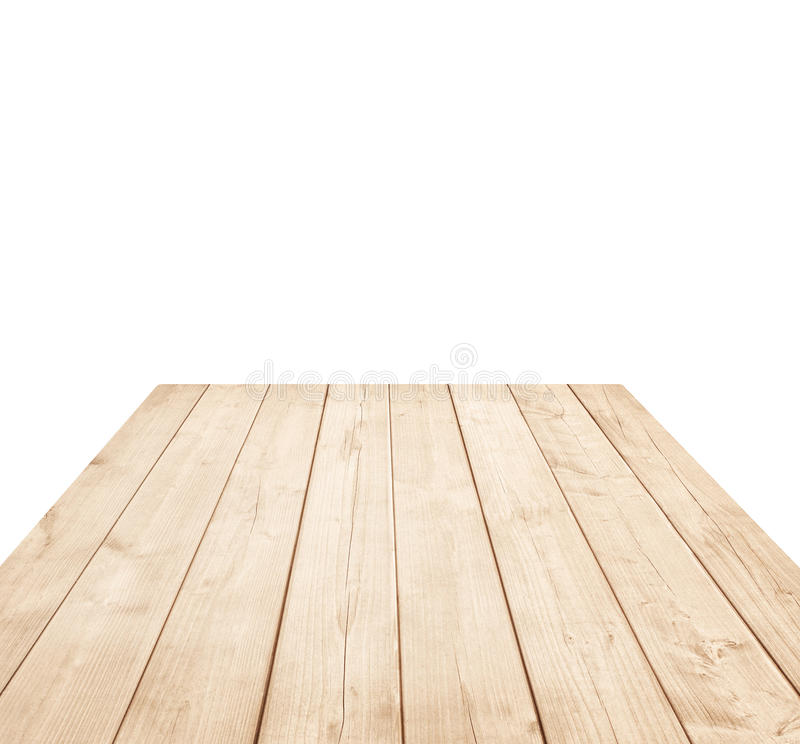 Empty brown wooden tabletop, vertical planks on white background stock photography