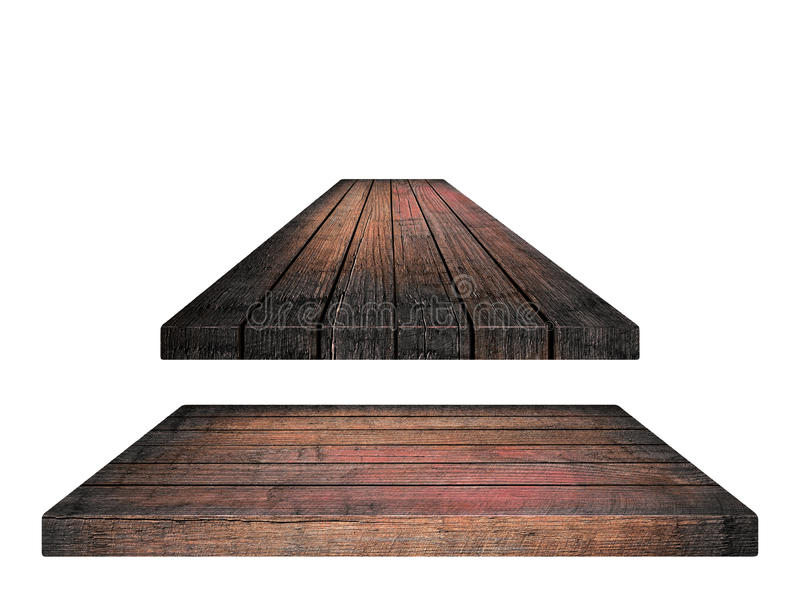 Empty brown wooden tabletop, vertical planks on white background royalty free stock photo