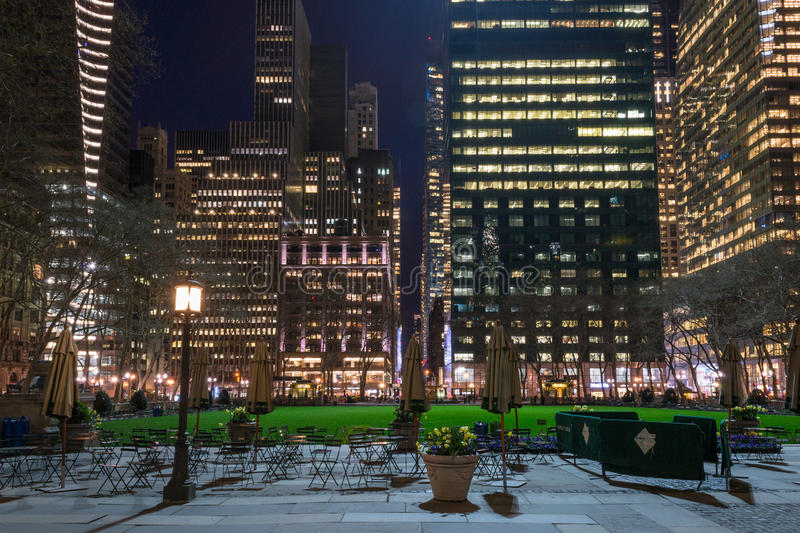 Empty Bryant Park. Bryant Park is located in Manhattan (NYC) between 5th and 6th avenue and 42nd street royalty free stock photography