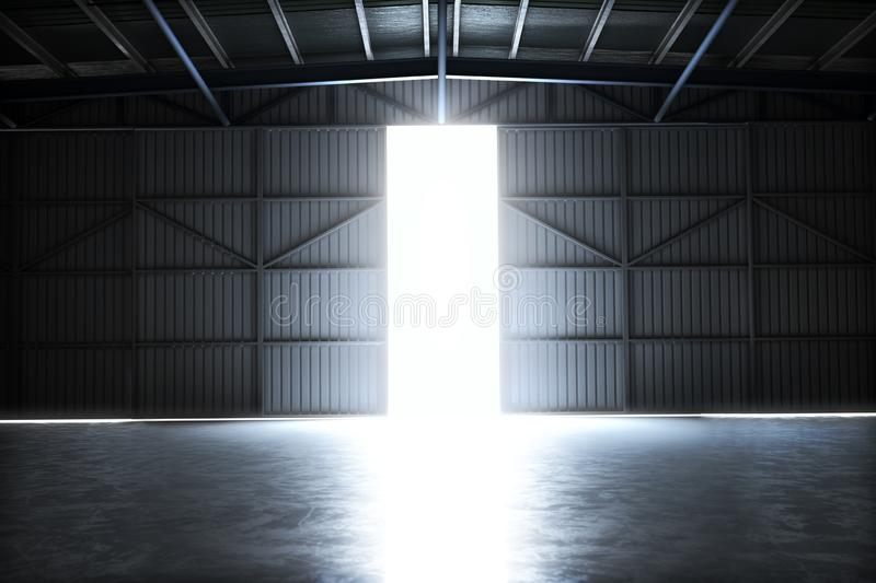 Empty building hangar with the door open with room for text or copy space. stock illustration