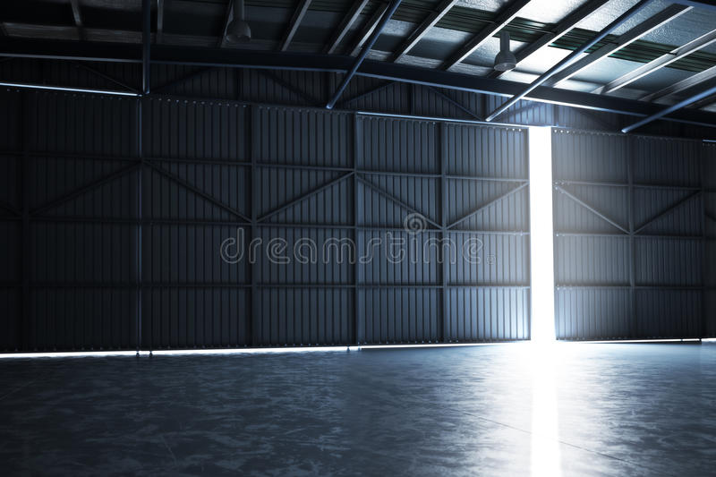 Empty building hanger with the door cracked open with room for text or copy space. royalty free illustration