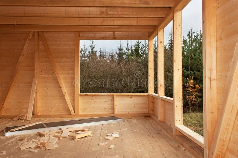 Download Empty Building Site Ecological House. External Work On The Building  Envelope. The Wooden