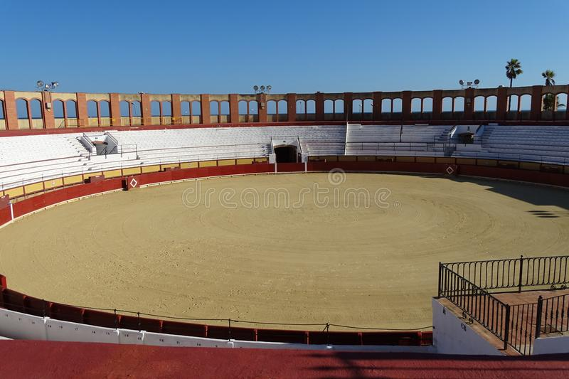 Bullring empty from Vinaros, Spain. Empty bullring view before a corrida, Vinaros, Spain royalty free stock photos