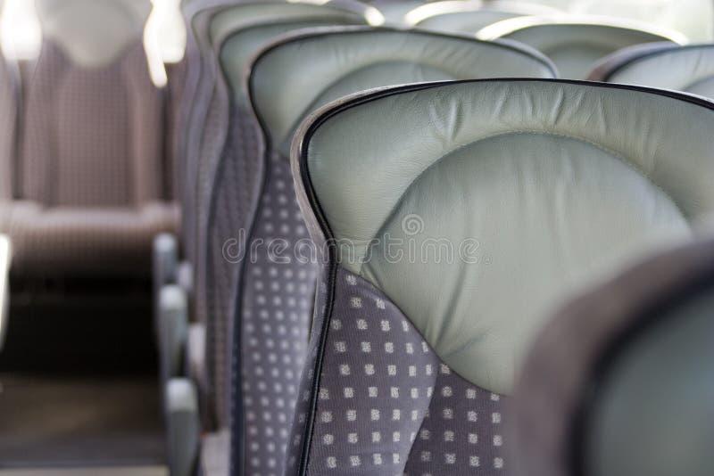 Empty bus seats stock image