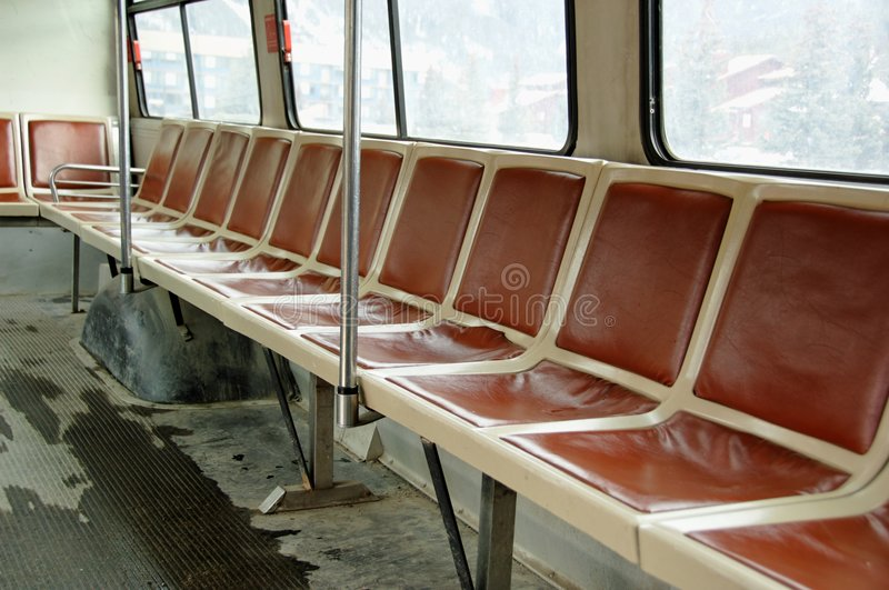Empty bus or shuttle. Dirty bus or shuttle with no passengers stock images