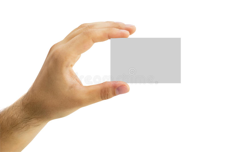 Empty business card in a human hand. Isolated empty business card in a human hand royalty free stock photo
