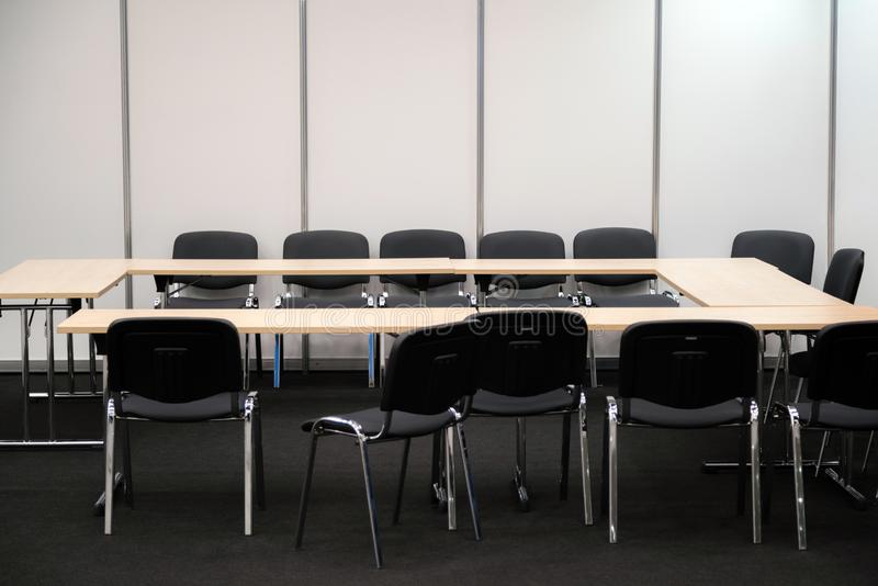 Empty business meeting room. Desk and chairs for decision making royalty free stock photos