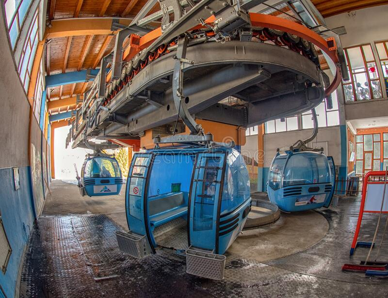 Empty cabin of cableway in top station in resort Malino Brdo, Slovakia royalty free stock photo