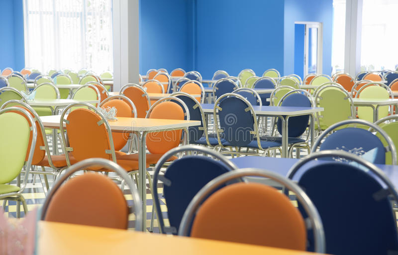 An empty cafeteria stock image