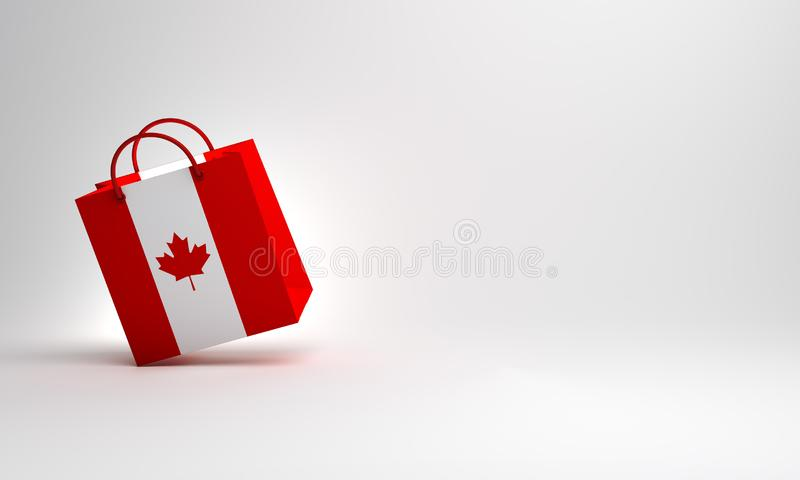 Empty Canadian flag shopping bag in the studio lighting, copy space text. vector illustration