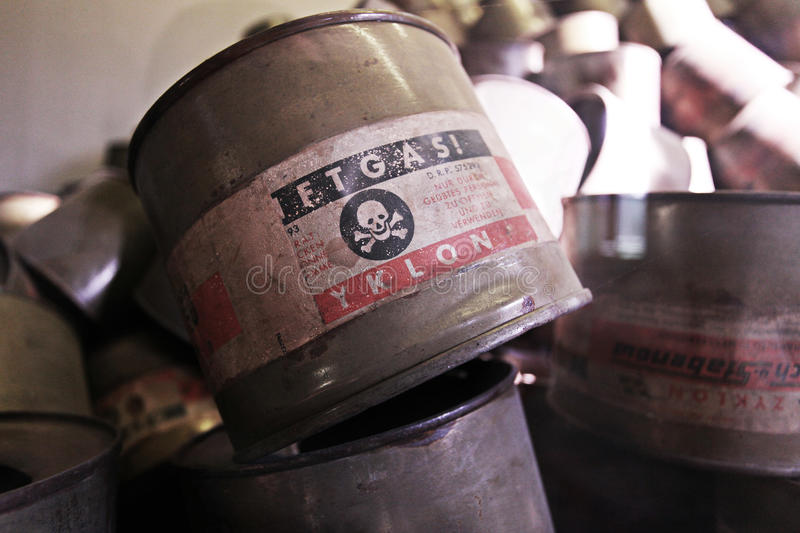 Empty cans of Zyklon B gas at Auschwitz - Pland stock photos