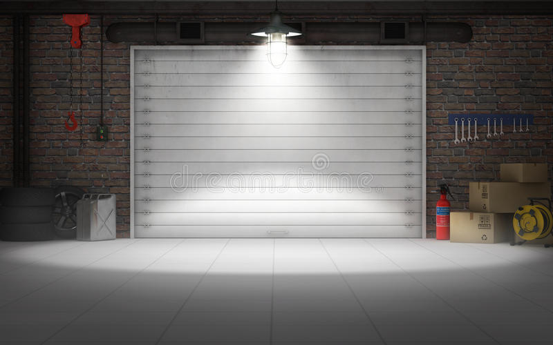 Empty Car Repair Garage Background Stock Illustration