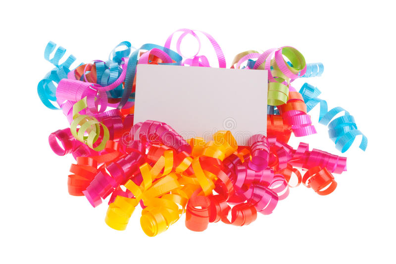 Download Empty Card On Curly Ribbons Stock Image - Image: 12645239