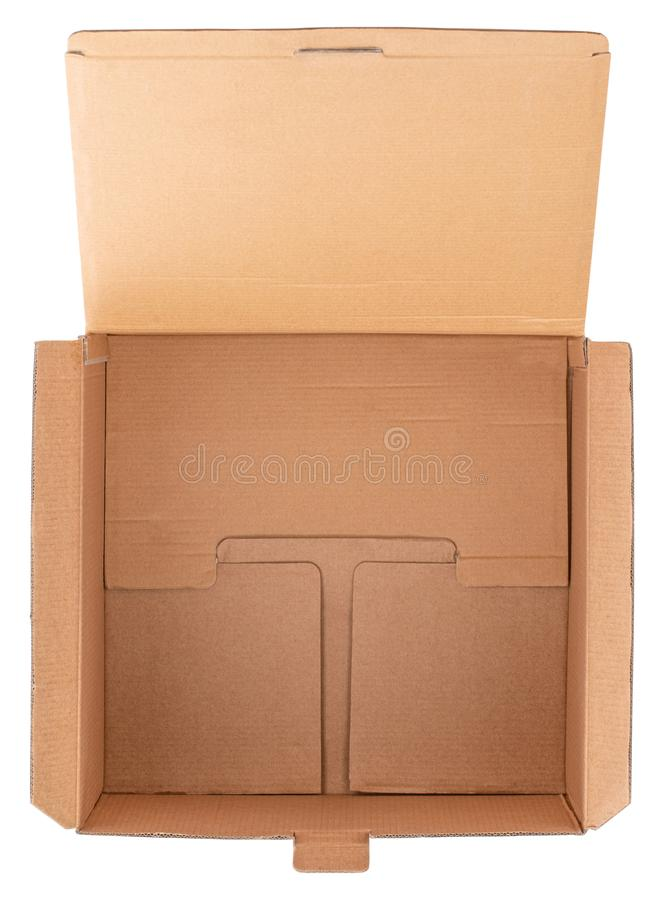 Empty cardboard box isolated on white background, top view royalty free stock photo