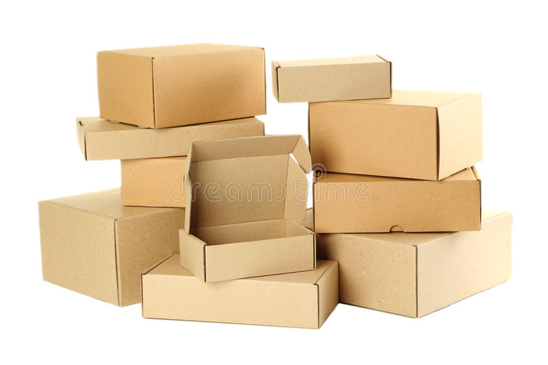 Empty cardboard boxes. Isolated on a white stock image
