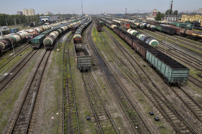 Empty cargo containers on railroad, marshalling yard, Russian Ra royalty free stock photography