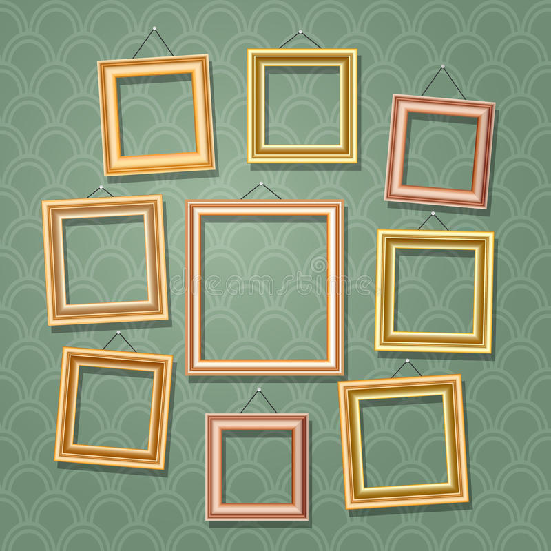 Empty cartoon photo frames on green wall. Retro wooden picture frame set vector illustration stock illustration