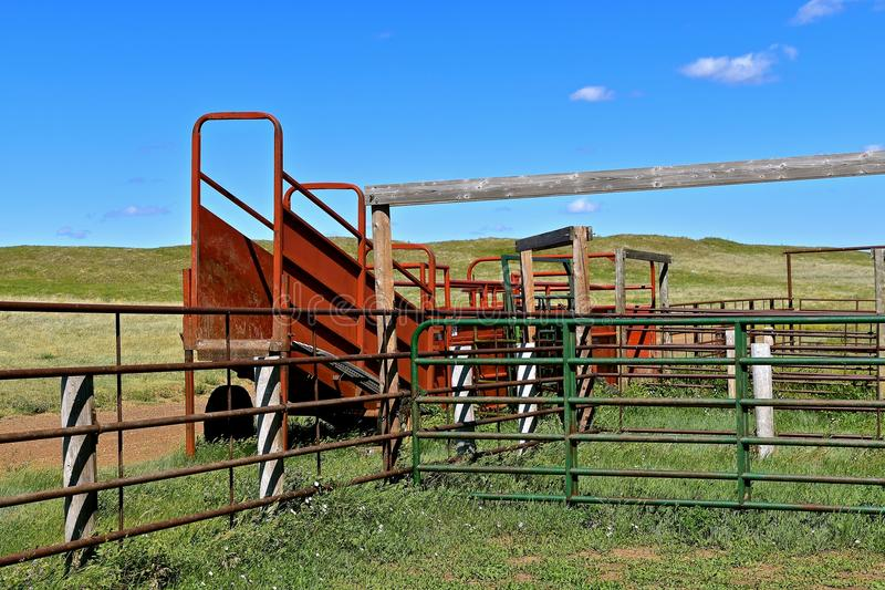 Empty cattle corral in the western prairies royalty free stock photos
