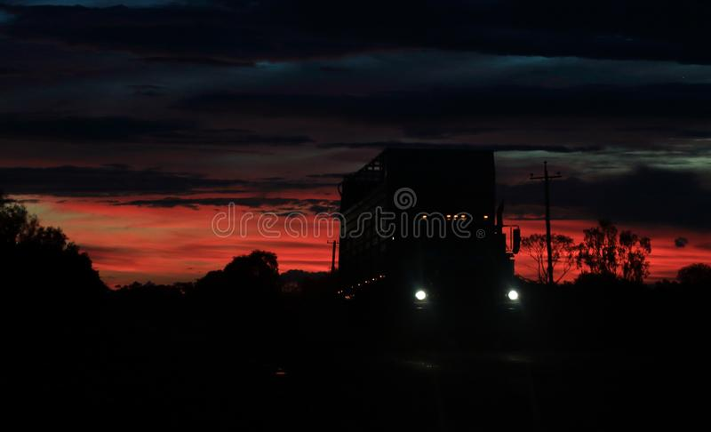 Empty cattle truck at sunset #2. Empty cattle truck at sunset heading into moree, closer photo royalty free stock image