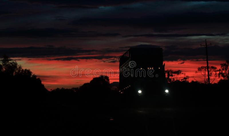 Empty Cattle truck at sunset royalty free stock photography