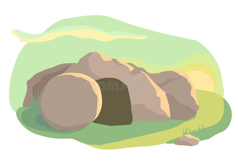 The empty cave. Easter. Easter illustration of opened empty cave. Morning light. Vector royalty free illustration