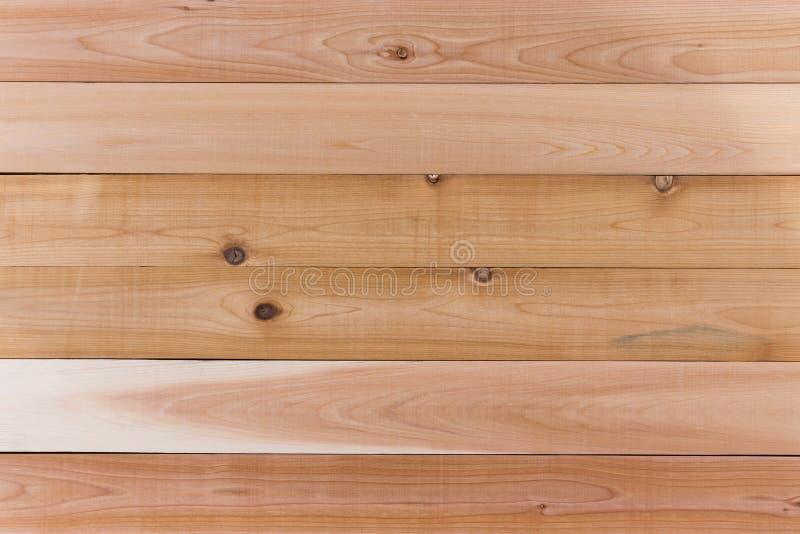 Empty Cedar Wood Wall with Horizontal Orientation. Cedar Wood Wall Background with Copy Space, Emphasizing Horizontal Orientation stock photography