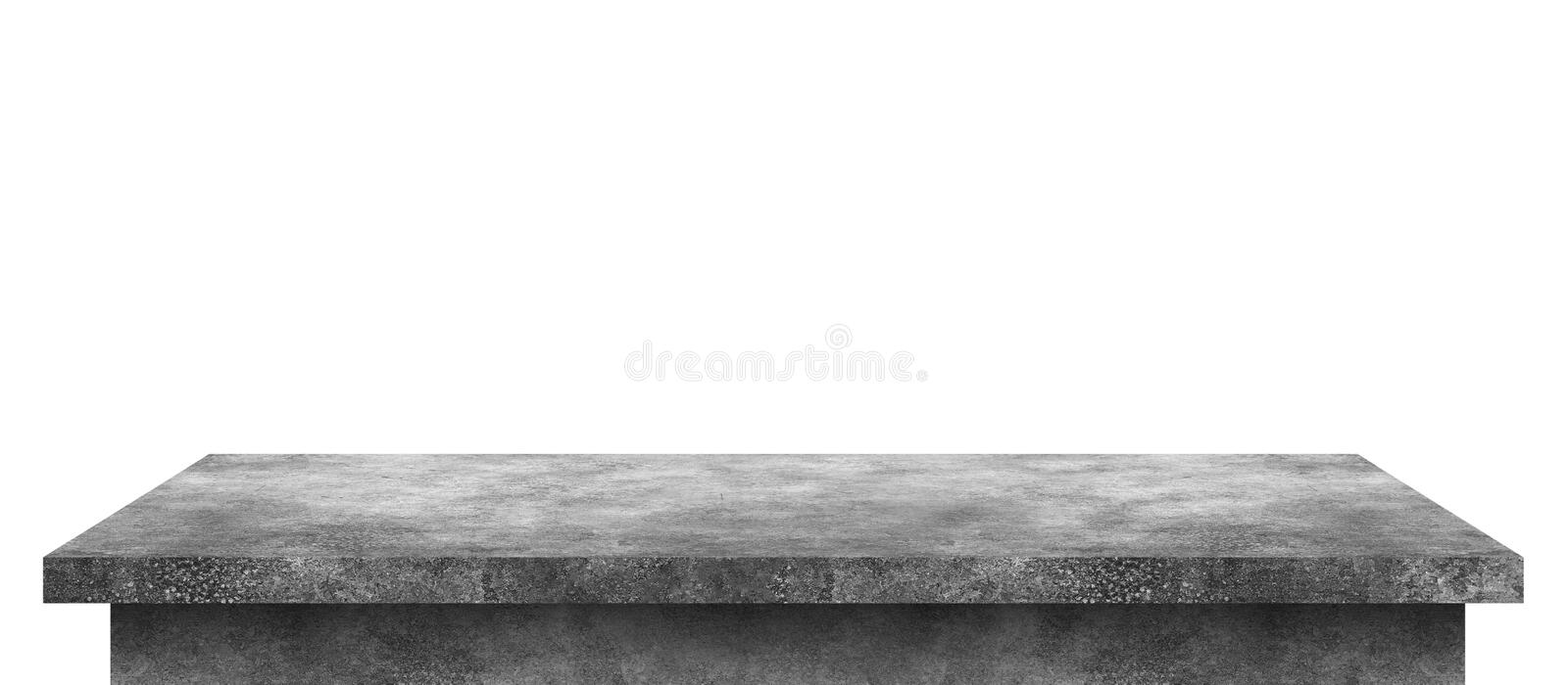 Empty cement table with stone pattern isolated on pure white background. Concrete desk and shelf display board with perspective stock photography