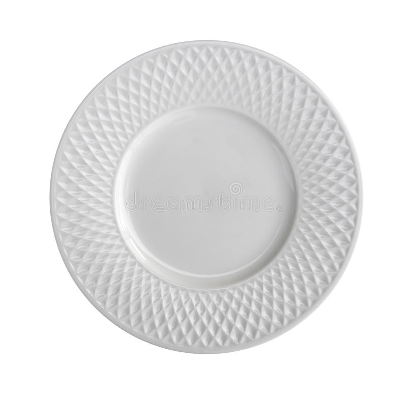 Empty ceramic plate top view isolated on white background, clipping path included stock photo