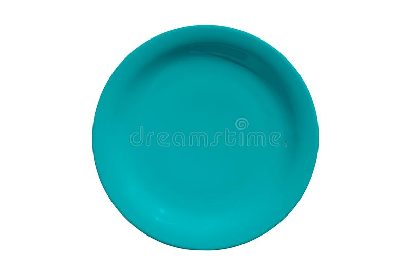 Cyan ceramic round plate isolated on white background royalty free stock image