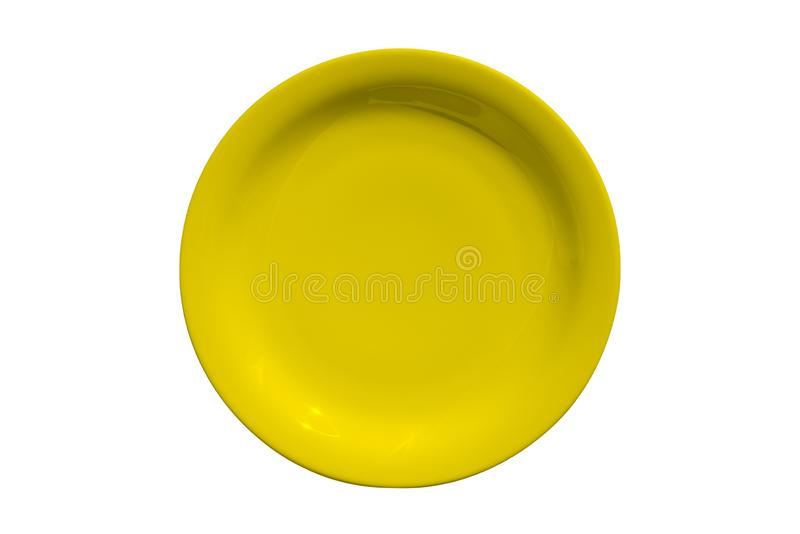 Yellow ceramic round plate isolated on white background royalty free stock images