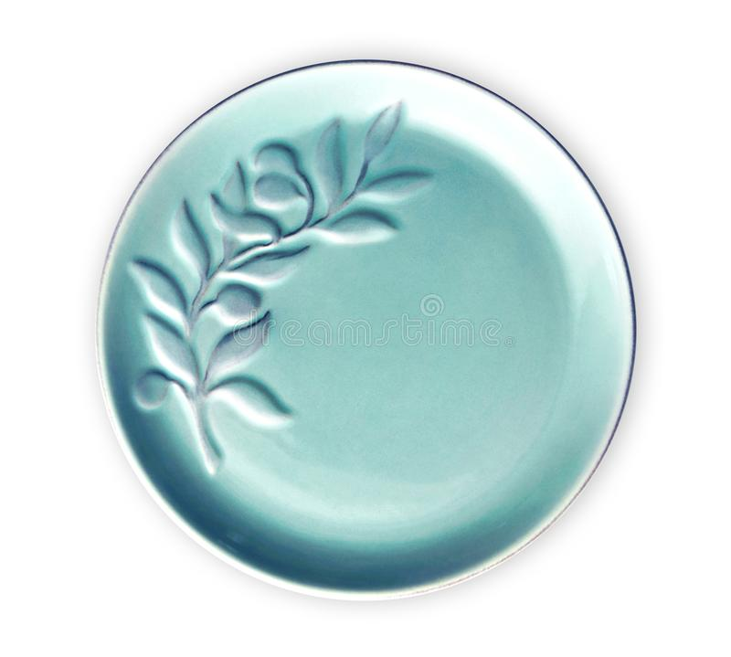Empty ceramics plates, Blue plate with floral pattern, View from above isolated on white background with clipping path stock photography