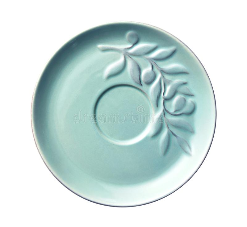 Empty ceramics plates, Blue plate with leaf pattern, View from above isolated on white background with clipping path stock photography