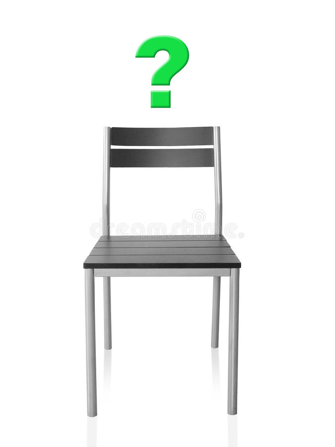 Empty chair. On a white background with a question mark vector illustration