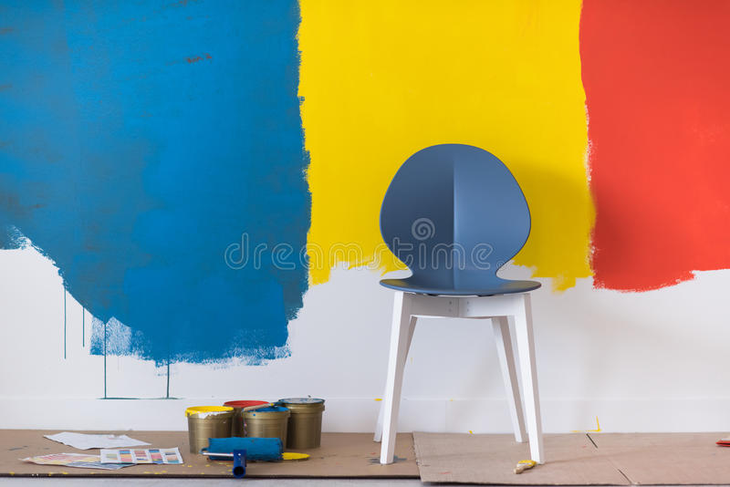 Empty chair and equipment for painting stock image