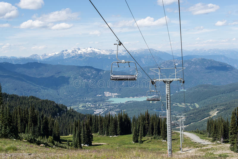 Empty Chair Lift. An empty chair lift on Whistler Mountain stock image