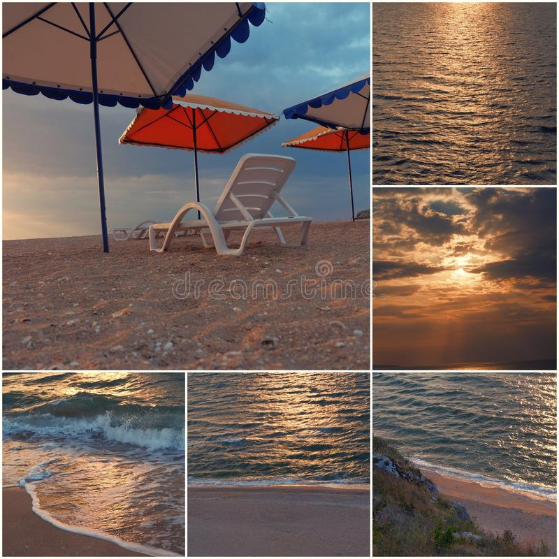 Empty chair stand on beach under opened umbrella sunset time collage of toned images.  stock photo