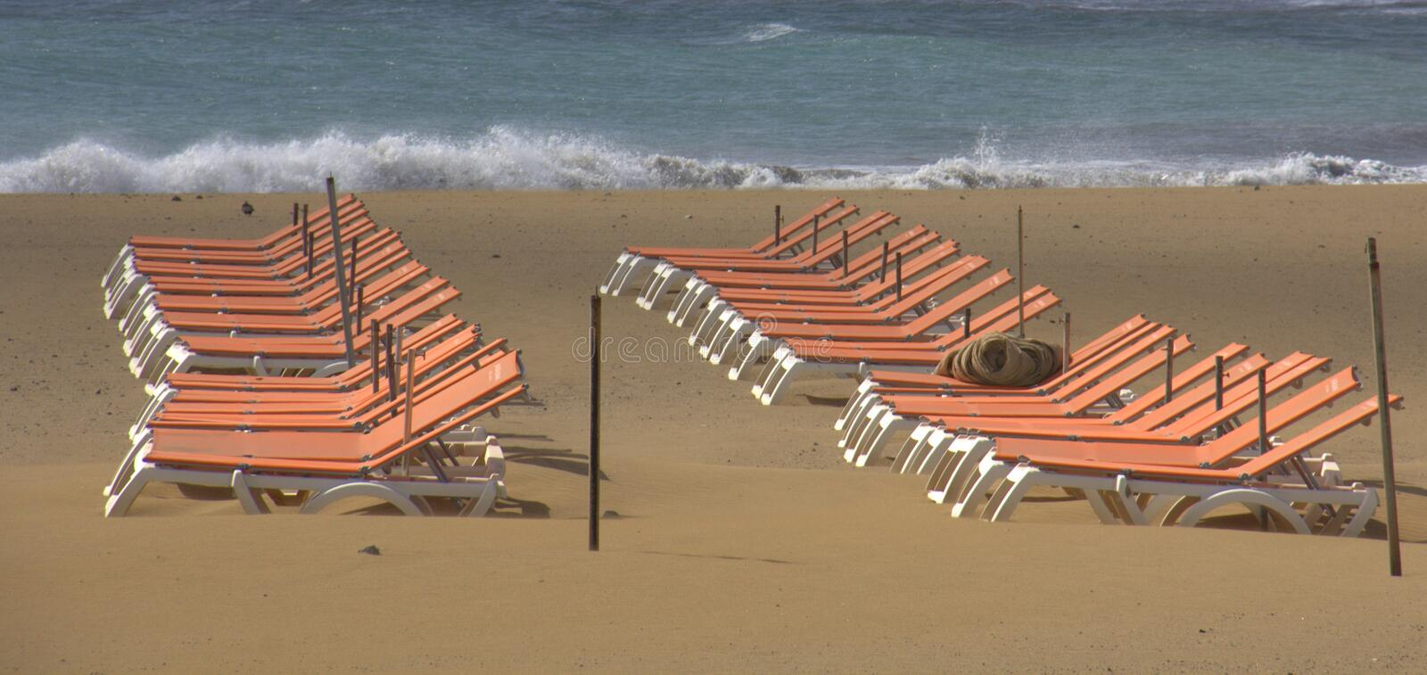 Empty Chairs On The Beach Royalty Free Stock Photography