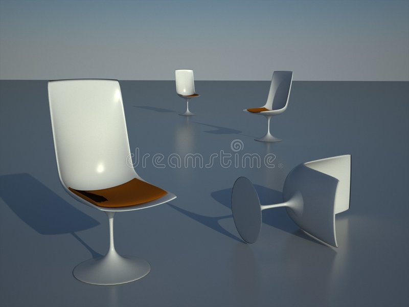 Empty chairs in morning light. Four scattered designer chairs in a soft morning sunrise light stock illustration