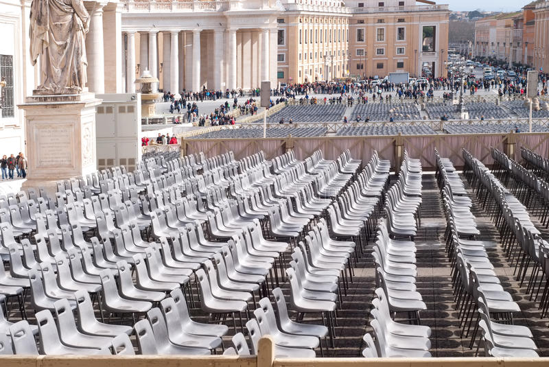 Empty chairs in Saint Peter`s Square, Vatican, Rome, Italy royalty free stock photos