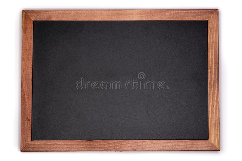 Empty chalk board background. Blank blackboard with wooden frame. royalty free stock photography