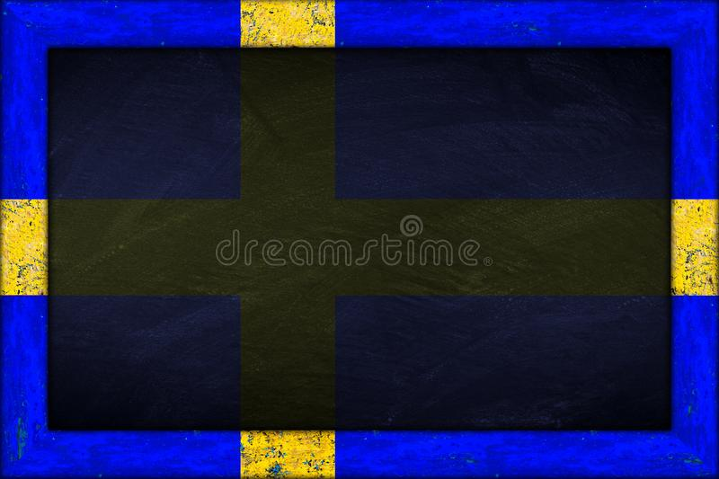 Blackboard with sweden flag frame royalty free stock photo