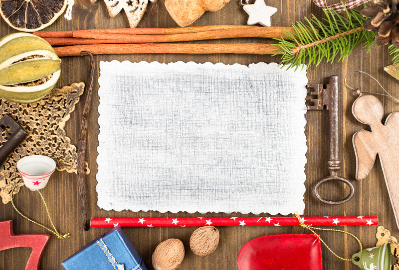 Empty Christmas card and various decorations stock photo