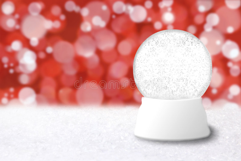 Empty Christmas Snow Globe With Blue Holiday Backg stock photography