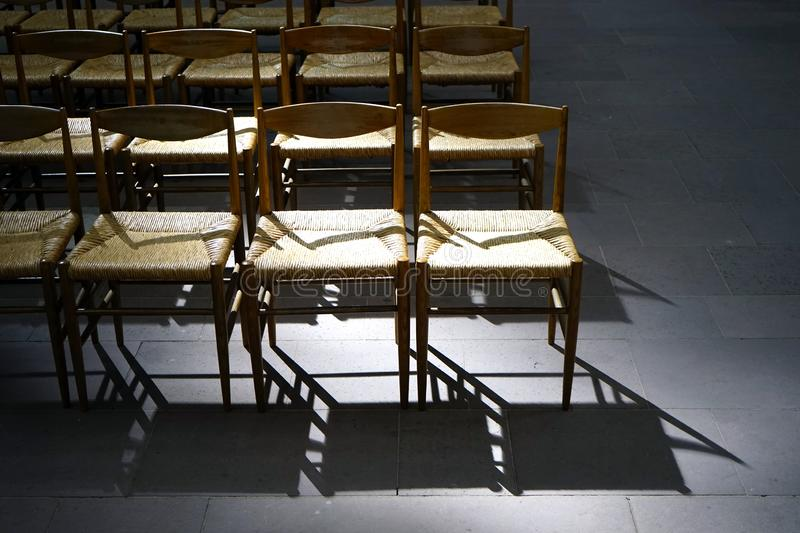 Empty church chairs royalty free stock photography