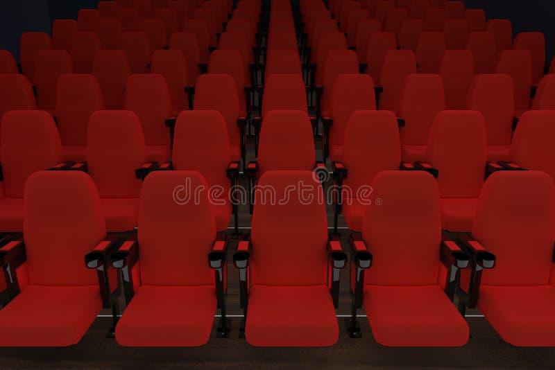 Download Empty Cinema With Red Seats Stock Illustration - Illustration of tribune, interior: 27284204