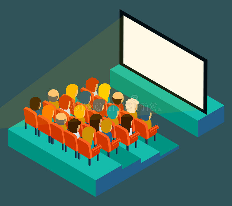Empty cinema screen with audience. Isometric in royalty free illustration