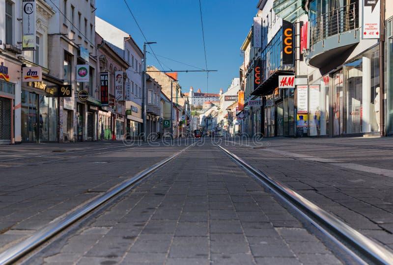 Empty City Because of Coronavirus. Obchodna street, cstle, Bratislava, Slovakia stock photography