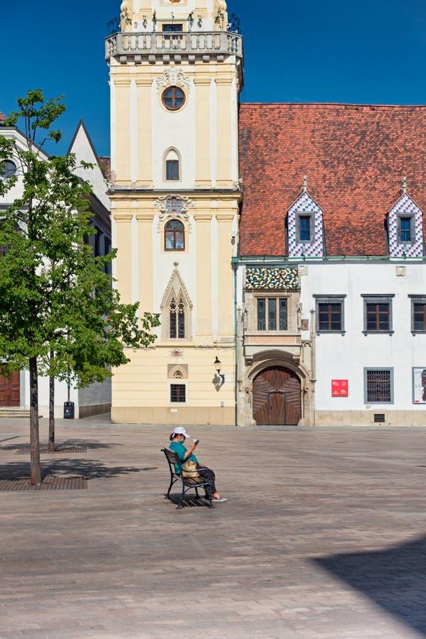 Empty City Because of Coronavirus. Main Square, Old Town Hall, Bratislava, Slovakia stock photos