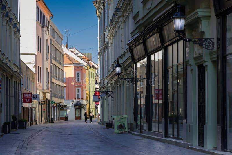 Empty City Because of Coronavirus. Empty Panska street; Bratislava; Slovakia royalty free stock image