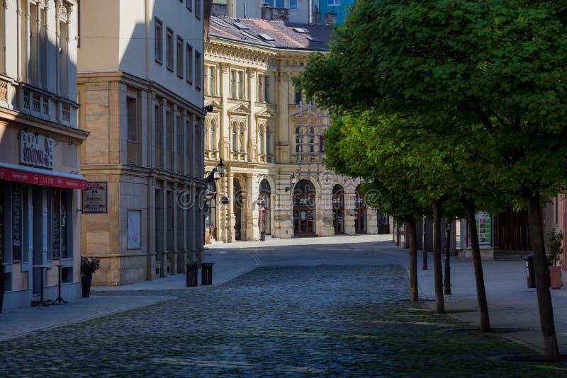 Empty City Because of Coronavirus. Empty Panska street; Bratislava; Slovakia royalty free stock photography